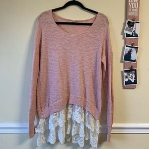 Pink pullover sweater blouse
